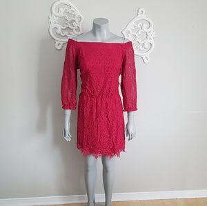 White House Black Market off shoulder lace dress